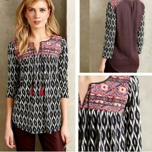 Anthro Palamba Embroidered Geo Top One September